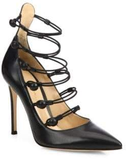 Gianvito Rossi Strappy Leather Point Toe Pumps