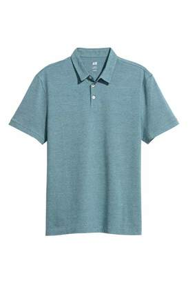 H&M Polo Shirt Slim fit - Turquoise melange - Men