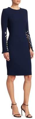 Teri Jon Crepe Split-Sleeve Pearl-Trim Wool Sheath Dress