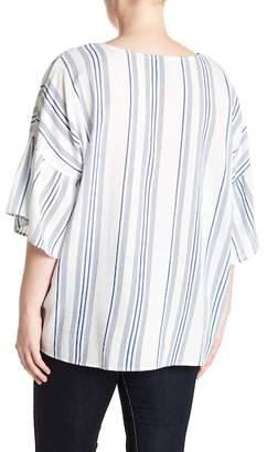 Bobeau Ruffle Sleeve Striped Blouse (Plus Size)