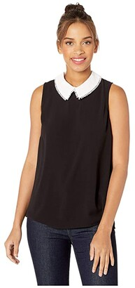 CeCe Sleeveless Collared Blouse w/ Dot Trim