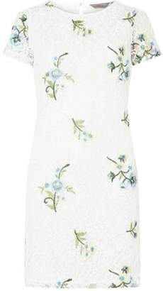 Dorothy Perkins Womens Petite Ivory Embroidered Shift Dress