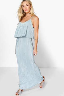 boohoo Double Layer Crinkle Maxi Dress