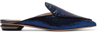 Nicholas Kirkwood Beya Sequined Leather Slippers - Indigo