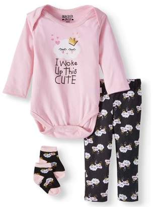 Duck Duck Goose Bodysuit, Pants & cap, 3pc outfit set (Baby Girls)