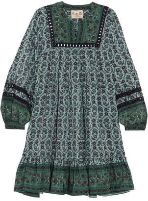 SEA - Allura Printed Guipure Lace-trimmed Silk Crepe De Chine Mini Dress - Forest green $445 thestylecure.com