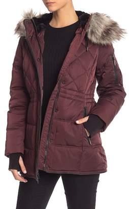 BCBGeneration Missy Quilted Faux Fur Trim Parka