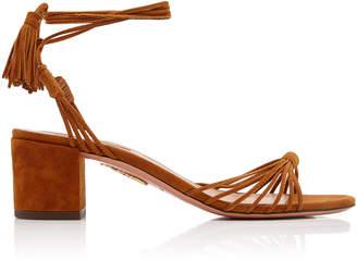 Aquazzura Mescal Tasseled Suede Sandals