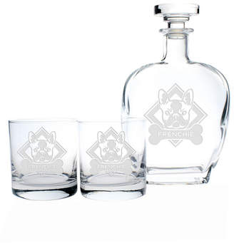 Rolf Glass Woof! French Bulldog 3 Piece Gift Set - Whiskey Decanter And Rocks Glasses