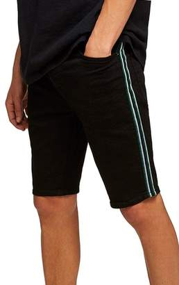 Topman Tape Stretch Skinny Fit Denim Shorts