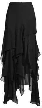 Michael Kors Women's Layered Ruffle Silk Maxi Skirt - Black - Size 2