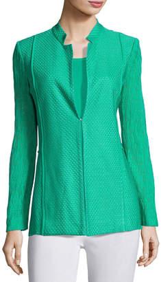 Misook Lace-Sleeve Knit Jacket, Green, Plus Size