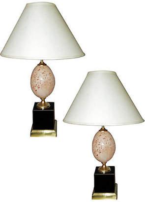 One Kings Lane Vintage Maison Lancel Travertine Lamps - Set of 2 - Thomas Brillet Inc.