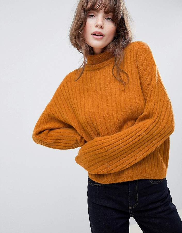 ASOS DESIGN fluffy sweater in rib with roll neck