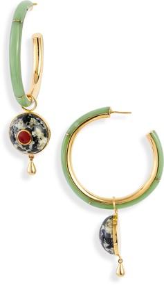 Monica Sordo Brujo Semiprecious Stone Hoop Earrings