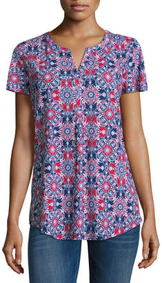 Liz Claiborne Short Sleeve V Neck T-Shirt-Womens Tall