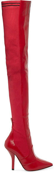 Fendi - Rockoko Leather And Ribbed-knit Thigh Boots - Red