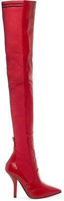 Fendi Rockoko Leather And Ribbed-knit Thigh Boots - Red