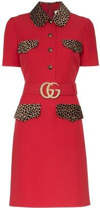 Gucci leopard-print trim belted dress
