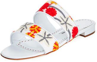 Manolo Blahnik Bulgopla Two-Strap Slide Flat Sandal