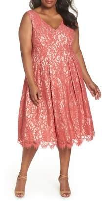Eliza J V-Neck Midi Lace Fit & Flare Dress (Plus Size)