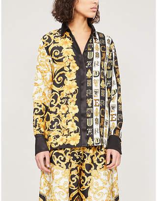 Versace Baroque and alphabet-print silk-twill shirt