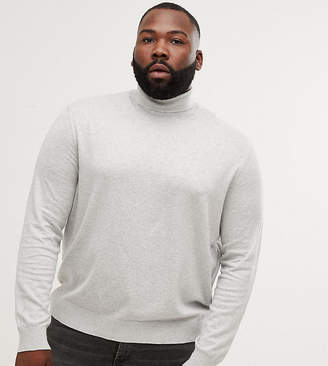 Burton Menswear Big & Tall roll neck jumper in light grey
