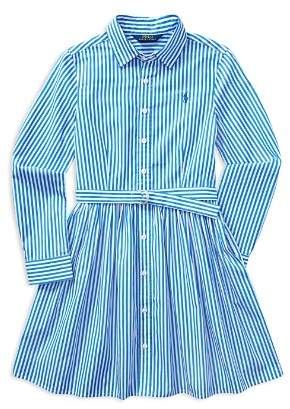 Ralph Lauren Girls' Bengal Stripe Shirtdress - Big Kid