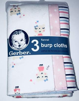 Gerber Newborn Baby Girl Assorted Terry Lined Burp Cloths, 3-Pack