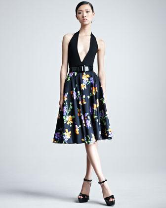 Ralph Lauren Lenorah Floral-Print A-Line Skirt