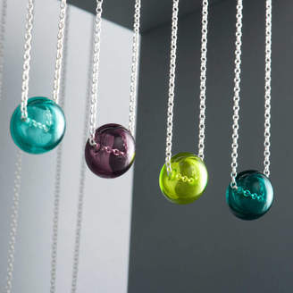 EVY Designs Sterling Silver Glass Sphere Necklace