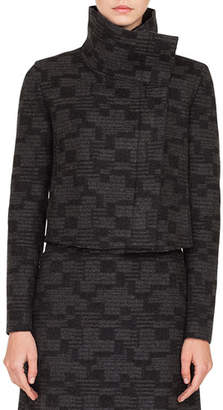 Akris Rhode Island Funnel-Collar Printed Tweed Cashmere Short Jacket