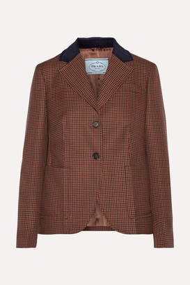 Prada Suede And Corduroy-trimmed Houndstooth Wool And Mohair-blend Blazer - Brown