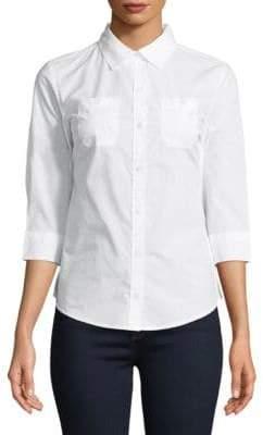 Karen Scott Petite Two-Pocket Button-Down Shirt