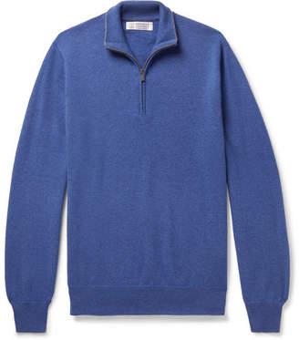 Brunello Cucinelli Contrast-Tipped Cashmere Half-Zip Sweater