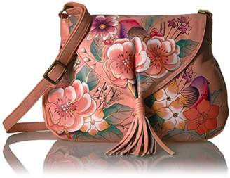 Anuschka Anna by Handpainted Leather Flap Hobo