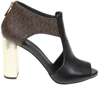 Michael Kors Paloma Open Toe Boots In Leather