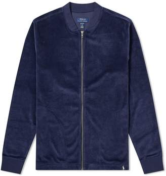 Polo Ralph Lauren Velour Sleepwear Zip Bomber Jacket