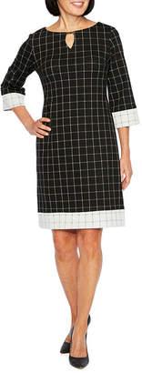 Liz Claiborne 3/4 Sleeve Grid Shift Dress