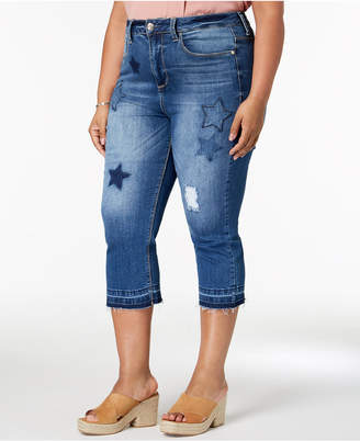 Seven7 Jeans Trendy Plus Size Patched Cropped Jeans