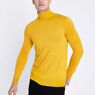 River Island Yellow long sleeve roll neck slim fit sweater