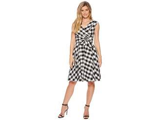 Calvin Klein V-Neck Gingham A-line with Tie Waist CD8GXR3J Women's Dress