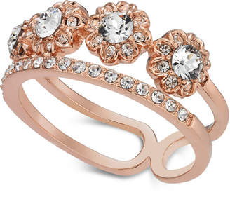 Charter Club Rose Gold-Tone Crystal Two-Row Band Ring