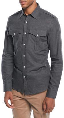 Brunello Cucinelli Men's Woven Cotton Western Shirt