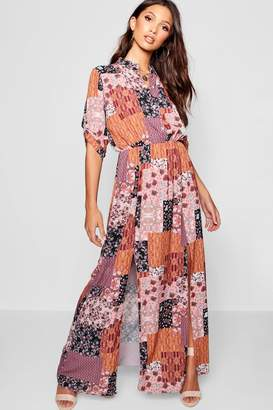 boohoo Bohemian Print Double Split Maxi Shirt Dress