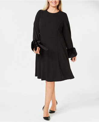 Calvin Klein Plus Size Faux-Fur-Cuff A-Line Dress