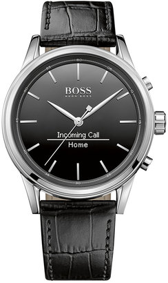 BOSS Hugo Boss Men's Smart Classic Black Leather Strap Smart Watch 44mm 1513450 $295 thestylecure.com