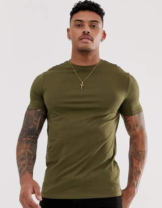 New Look muscle fit t-shirt in khaki