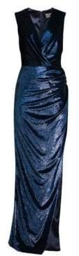 Milly Women's Noreen Velvet Wrap Gown - Navy - Size 0