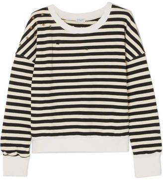 Splendid West Village Embellished Distressed Striped Cotton-blend Jersey Sweatshirt - Black